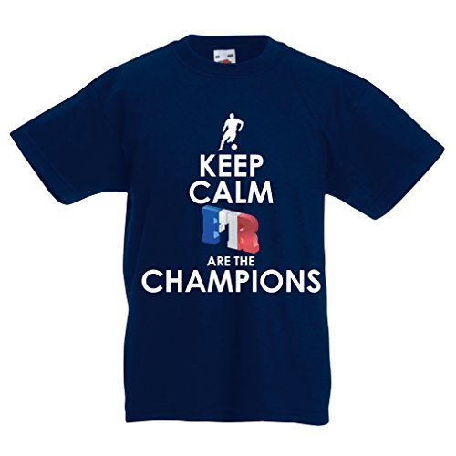 Camiseta Niños/Niñas Los franceses Son los campeones: Campeonato de Rusia 2018, Equipo de fútbol de la Copa del Mundo, Camiseta de la afición de Francia (14-15 Years Azul Oscuro Multicolor)