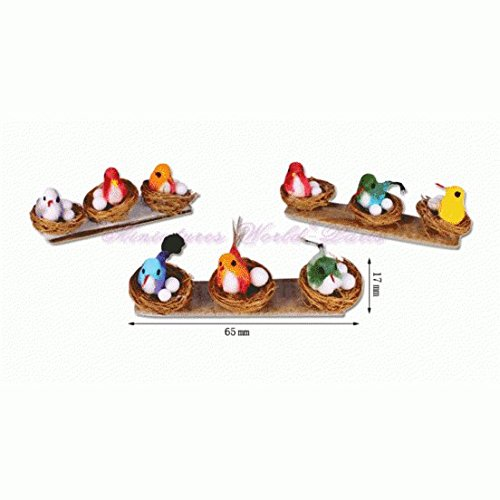 Miniatures World - 1 Vogel in zijn rieten nest voor miniatuurdecoraties en poppenhuizen in schaal 1:12