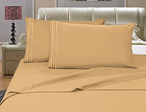#1 Best Seller Luxury Bed Sheets Set on Amazon! - HIGHEST QUALITY 1500 Thread Count Egyptian Quality Wrinkle, Fade, Stain Resistant - Hypoallergenic - 4 Piece Sheet Set, FULL, Gold