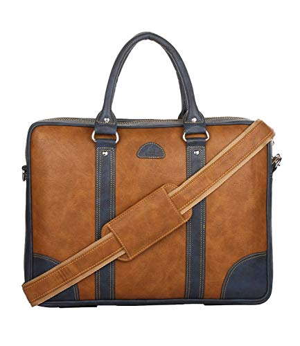 K London 15 Inches Leatherite Tan Unisex Cross Over Shoulder Messenger Office Laptop Bag (1803_tan)
