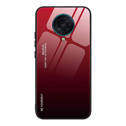 FANFO® Hülle für Xiaomi Poco F2 Pro [Fancy Series] Handyhülle Glashülle Hybrid mit Weichem TPU Silikon Rahmen Anti Kratzer Stoßfest Bumper Hülle Hülle, 5