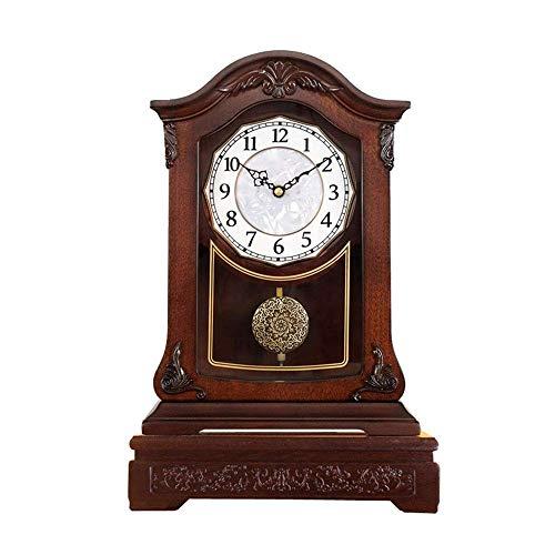 Reloj de escritorio silencioso con péndulo - Relojes antiguos de repisa de cuarzo sin tictac antiguos, decoración clásica vintage de pie con escritorio arqueado sin tictac y relojes de repisa, un