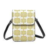 Bolso de hombro pequeño, mediados de siglo, moderno patrón de anillos atómicos, color amarillo mostaza, bolso cruzado para teléfono celular, bolso ligero para mujeres y niñas