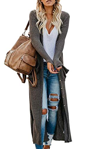 Hibluco Women's Casual Open Front Knit Long Cardigan Sweaters with Pockets Dark Gray
