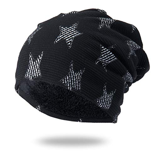 Liandan Men's And Women's Autumn And Winter Windproof And Warm Hedging Five-pointed Star Pattern Plus Velvet Skiing Riding And Running Outdoor Sports Comfortable Ear Protection Knitted Woolen Hat