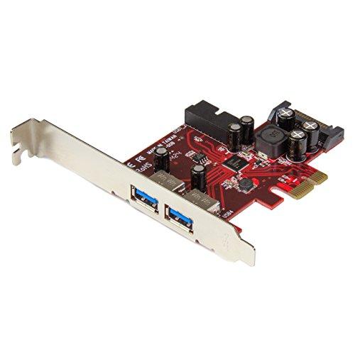 StarTech.com PEXUSB3S2EI - Adaptador Tarjeta PCI Express, 2 Puertos USB 3.0 externos, 1 internos con alimentación SATA, Negro