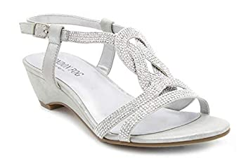 London Fog Womens Macey Demi-Wedge Dress Sandals Silver 6.5 M US