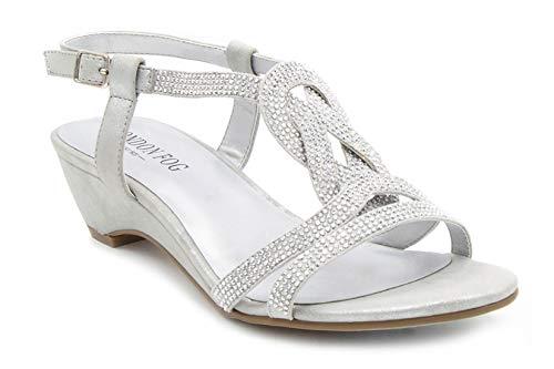 London Fog Womens Macey Demi-Wedge Dress Sandals Silver 7 M US