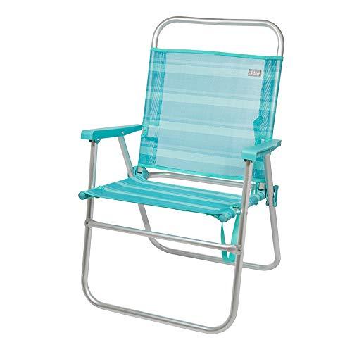 Aktive 53960 Silla plegable fija aluminio Beach, 51 x 56 x 90 cm Azul mediterráneo