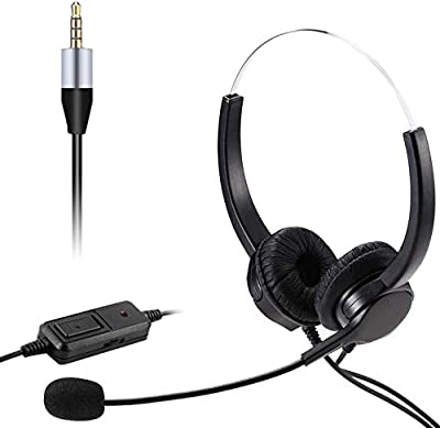 3.5mm Jack Wired Headphone, Cell Phone Headset with Noise Cancelling Mic & Audio Controls, Compatible for Skype PC Mobile Phone and Most Smartphones, Call Center Office, Clear Chat, Ultra Comfort from WONSUN