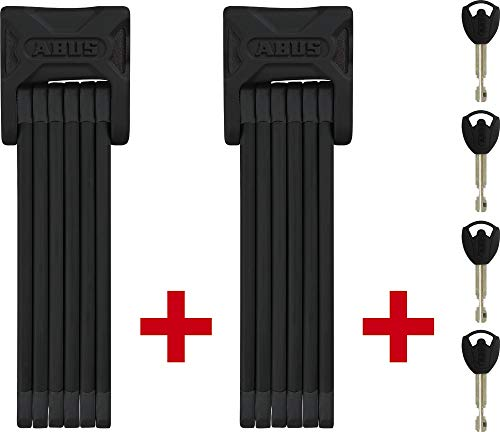 ABUS Faltschloss Bordo 6000/90 Twinset mit Halterung - Fahrradschloss aus gehärtetem Stahl - gleichschließend - ABUS-Sicherheitslevel 10 - 90 cm - Schwarz