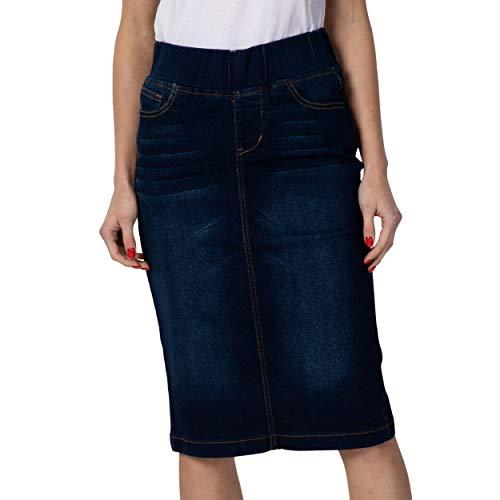 GoModest Women's Midi Casual Modest Knee Length Denim Jean Pencil Skirt (Dark Denim, Small)