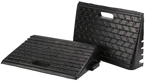 2 rampas de goma negras, rampa de bordillo, rampa de goma, rampa para silla de ruedas, rampa de bordillos portátil para coches, caravanas o sillas de ruedas.