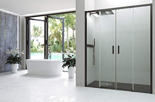 VAROBATH .Mampara de ducha con apertura frontal de puertas correderas, perfil NEGRO y cristal transparente con 6 mm de grosor. Disponible en varias medidas. Sin perfil inferior. (180 a 189)