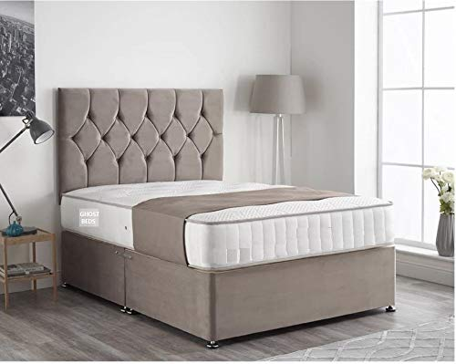 Ivan Silver Plush Velvet Divan Bed Set, 24 Inch Headboard and 10 Inch Memory Collection Mattress (Double 4FT6, 2 Drawers)