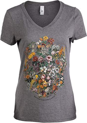 Vintage Floral Art | 1900s French Flowers Fleur Gardener V-Neck T-Shirt for Women-(Vneck,M)