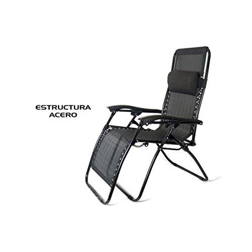 Gerimport S.L. Tumbona reclinable Negra (Medidas: 177x113x65cm)