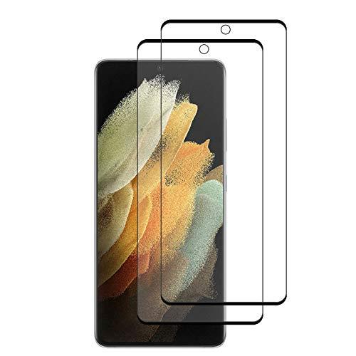 KZIOACSH 2 Pezzi Vetro Temperato per Samsung Galaxy S21 Ultra, Protezione Schermo Trasparente Ultra Resistente, Anti-Graffi, Anti-Impronte [durezza 9H], [Alta Definizione], [Anti-Bolle],Nero