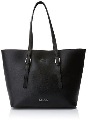 Calvin Klein Damen Zone Medium Shopper Tote, Schwarz (Black/Ck White), 14x25x41 cm