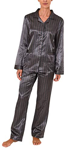 NORMANN WÄSCHEFABRIK Langer Satin Pyjama, durchgeknöpft - 61509, Farbe:anthrazit, Größe2:40/42