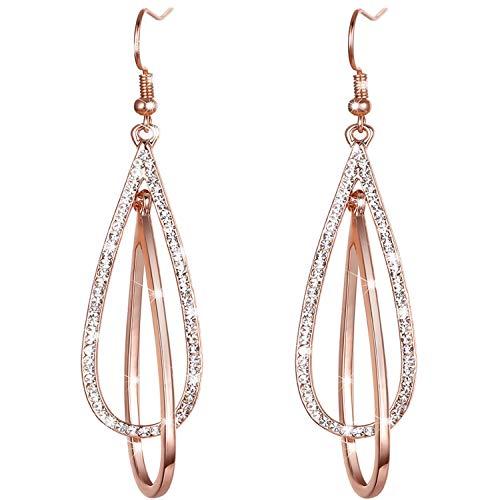 LOVE&CLOVER Earrings for women dangling, Crystal Drop Dangle Earrings Elliptical Ring Teardrop Women Girls Wedding Gift ,Rose Gold