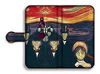 手帳型 スマホケース 【世界の名画】 ムンク 叫び ☆怖い絵画☆ 絵画 芸術 アート名画 印象派 幻覚 ホラー Google Pixel Xperia Galaxy AQUOS HUAWEI OPPO (Xperia XZ3, 不安)