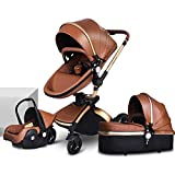 TBQATNTS Baby Carriage Stroller 3 in 1 carseat Stroller Combos,Baby Trolley Car Seat Stroller, High Landscape and Luxury Pram, Adjustable Seat Height Angle and Four-Wheel Shock Absorption,Brown