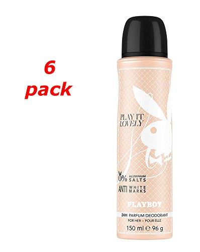Playboy Play It Lovely Deo Spray 150 ml. Pack von 6
