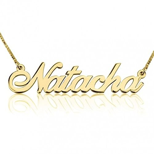 hacool Name Personalized 18K Gold Plated Beauty Name Necklace Pendant Jewelry Custom Made with Any Name(Sterling Silver-Gold)