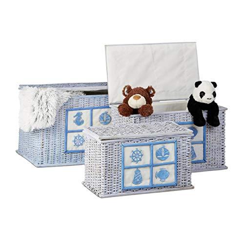Relaxdays Rattan Truhen 3er Set, Aufbewahrungsboxen mit maritimen Motiven, dekorative Kisten mit Stoffbezug, hellblau