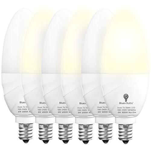6 Pack Bluex Dusk to Dawn LED Bulbs, 6W E12 Base Light Bulb - 65W Equivalent – 3000K WarmLight White - Smart Light Sensor Candelabra Bulb, Home Security Indoor, Outdoor, Driveway, Yard, Porch Lighting