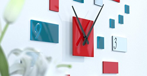 Wanduhr aus Lounge Design Schwarz, Rot und Dunkelgrau Bleu Canard / Rouge / Gris Argent