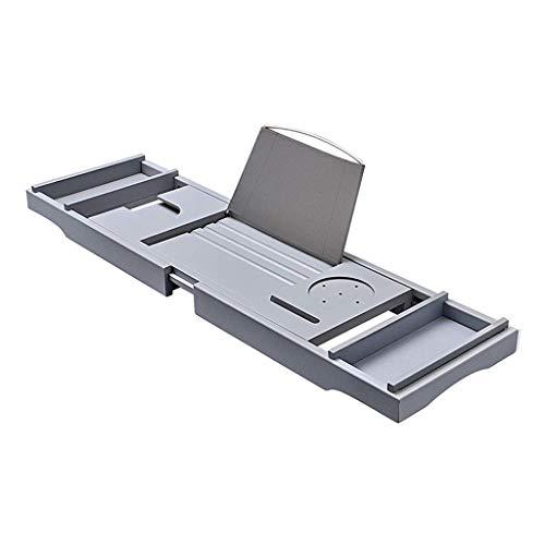 JRAVELR Grey Telescopic Bathtub Caddy, Multifunctional Non-slip Eco-Friendly Bamboo Bath Tub Tray Rack With Book Or Tablet Holder Wine Glass Slots