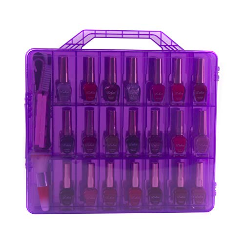 Zoostliss Universal Purple Transparent Nail Polish Organizer Storage Case for 48 Bottles Adjustable Dividers Space Saver