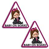 Biomar Labs® 2 x Adesivi Vinile Stickers Autoadesivi Decalcomania Bebè A Bordo Baby On Board Boss Bambino Bimbo Safety Sign Car Sicurezza Adesivi per Auto Moto Finestrìno Finestro Porta B 166