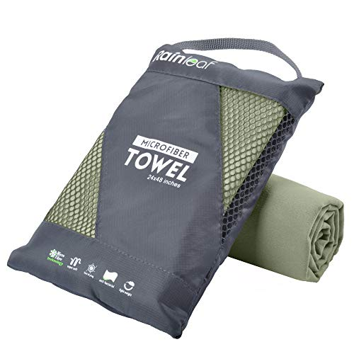 Rainleaf Microfiber Towel 20X40 Inches Army Green
