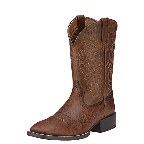 Ariat Men's Sport Wide Square Toe Western Boot, Fiddle Brown/Powder Brown, 11