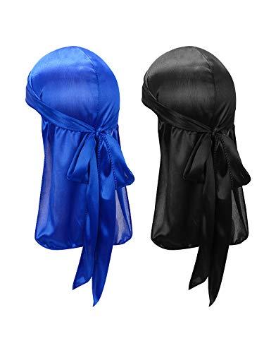 Century Star Kids Silky Satin Durags Head Wrap Silk Durag for Baby Boy Girls Wave Cap Wide Strap Long Tail Turban Beanies Black& Royal Blue