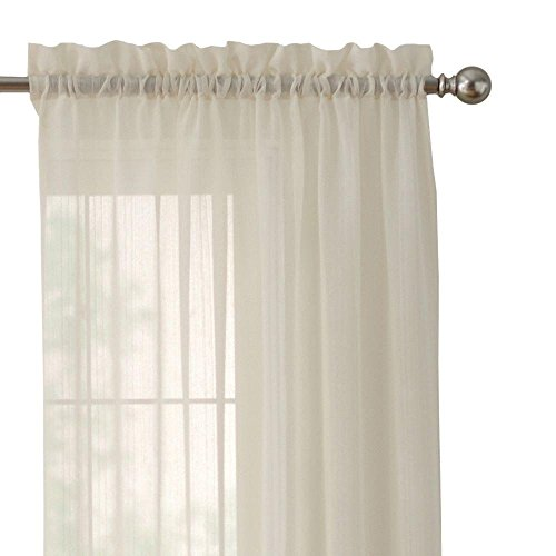 Home Decorators Collection 84 in. White Polyester Rod Pocket Curtain