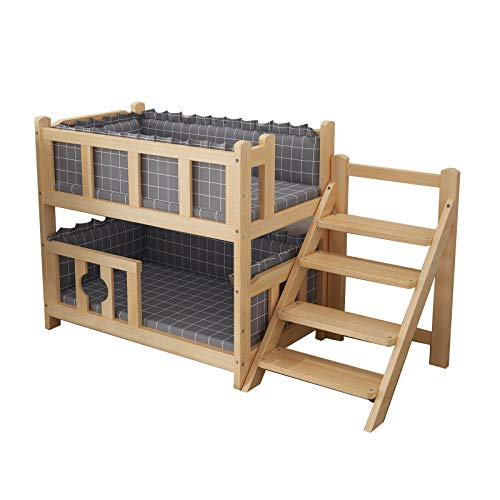 JLXJ Hundebett Hundeliege Doppelschicht Holz Haustier Hundebett mit Langen Treppen, Wintergrau Waschbar Weiche Matratze Erhöht Hundehütte, für 2 Welpen Haustiere (Size : 75×35×70cm)