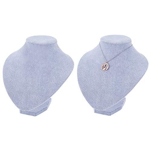 PandaHall Paquete de 2 Collares pequeños de Terciopelo para exhibición de Joyas, Soporte para Modelo, Busto y maniquí, Organizador de Joyas, exposiciones con Colgante (Gainsboro)