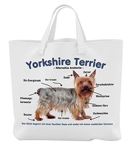 Merchandise for Fans Einkaufstasche - 45 x 42 cm x 9,5 cm, 18 Liter - Motiv: Yorkshire Terrier Alternative Anatomie - 01