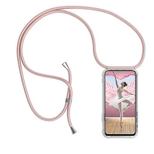 Handykette für Samsung Galaxy Note 10 Plus Hülle, Necklace Handyhülle mit Band Kordel Umhängen Handyanhänger Halsband Lanyard Durchsichtig Silikon TPU Gel Schutzhülle Anti-Shock - Rosé Gold