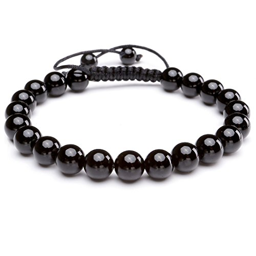 Jovivi 8MM Natural Black Agate Stone Bracelet Natural Crystals Gemstones Healing Energy Elastic Beaded Bracelets, Handmade Macrame Adjustable