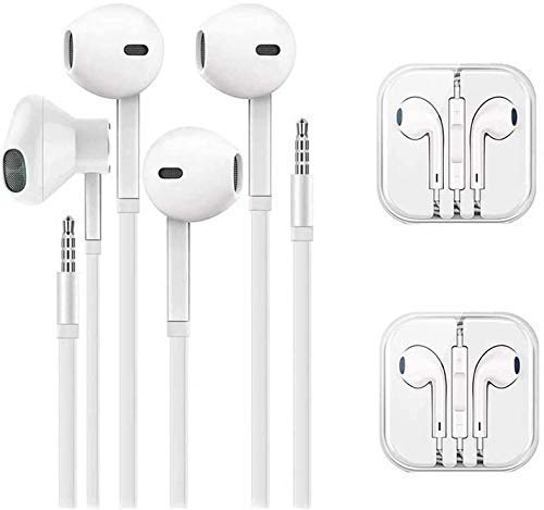 QX Headphones with Microphone,in-Ear Wired Earbuds, Earphones,Compatible Apple with iPhone 6s/6 Plus/5s/5c/5/4s/SE/7 Android All 3.5mm Devices[2 Pack ]