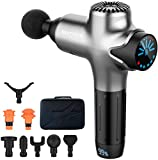 Massage Gun Percussion Muscle Massage for Pain Relief, Super Quiet Portable Neck Back Body Relaxation Electric Drill Sport Massager Brushless Motor with 8 Attachment 7 Speeds Y8 Pro Max(Silver)