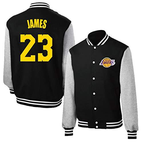 Neutral Los Angeles Lakers #James Jersey, Baloncesto Camiseta de Entrenamiento, Uniforme de béisbol Hombres y Mujeres de Manga Larga, Botones del Metal Top Coat,Negro,S