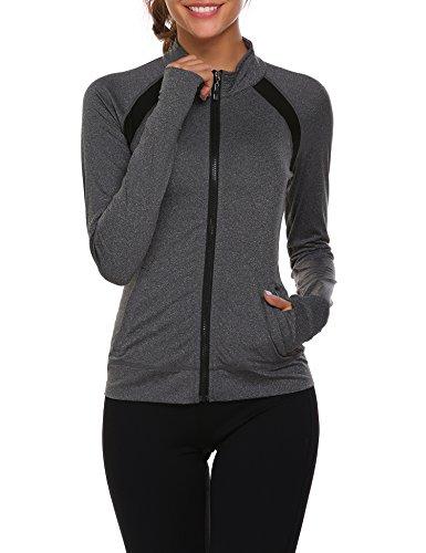 Parabler Laufjacke Damen Sportjacke Trainingsjacke voll Reißverschluss Trainingsanzug mit Daumenloch und Seitentasche Fitness Grau Hellgrau L