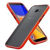 Cadorabo Hülle kompatibel mit Samsung Galaxy J4 Plus / J4 Prime / J4 CORE in Matt Rot - Schwarze Tasten - Handyhülle mit TPU Silikon Innenseite & Matter Kunststoff Rückseite - Schutzhülle Hybrid