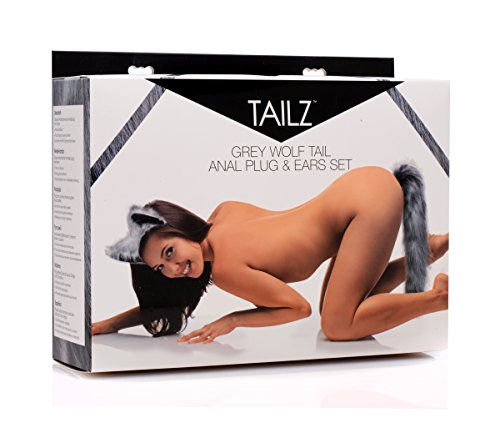 Tailz Grey Wolf Tail Anal Plug and Ears Set, 1 Count